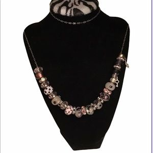 """30"""" sterling silver pink bead necklace"""